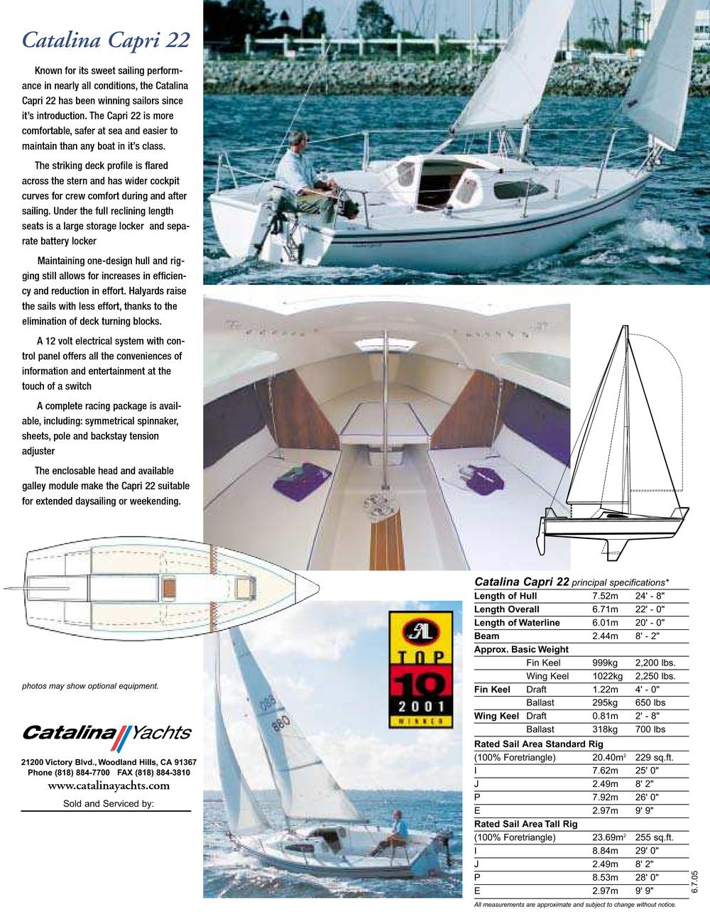 Catalina Capri 22 Specifications Mast Height Displacement